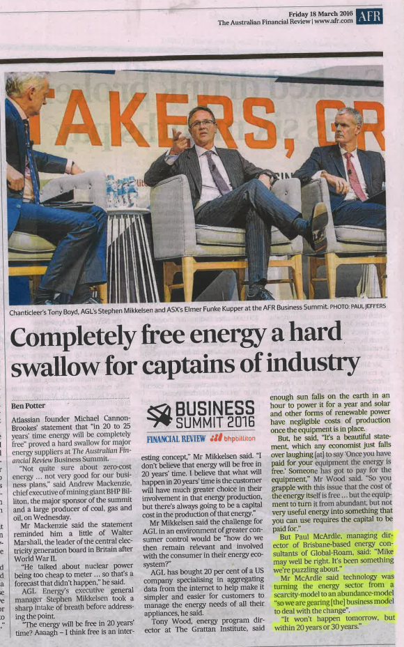 Copy of article from the AFR on 18th March