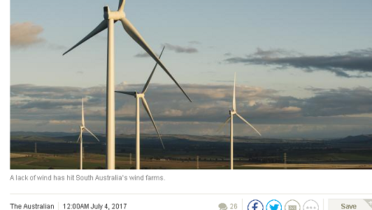"References to Wattclarity ""wind drought"" article in newspaper reports"